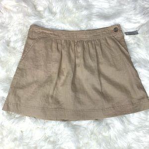 Khaki Mini 100% linen Skirt Size 12